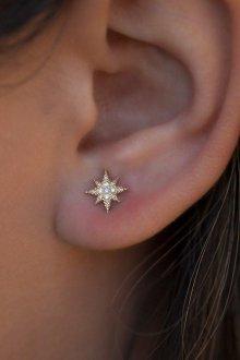Серьги гвоздики в виде звезды с бриллиантами