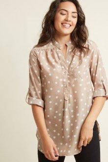 Блузка в горошек бежевая