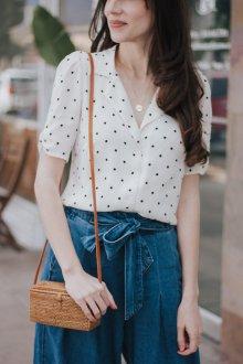 Блузка рубашка в горошек