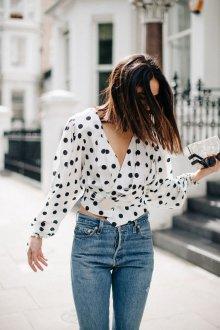Блузка в горошек свободная