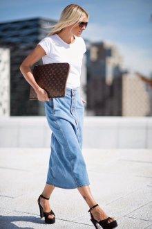 Юбка с футболкой джинсовая миди