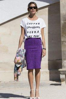 Юбка с футболкой фиолетовая