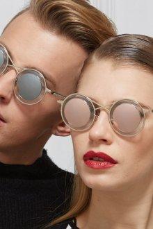 Круглые очки бежевые