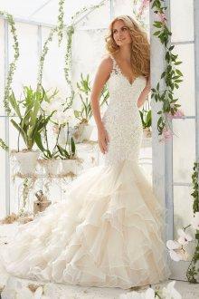 Свадебное платье рыбка шифоновое