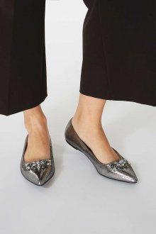 Серые туфли без каблука