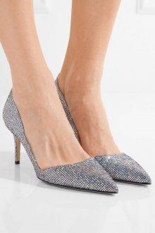 Серые туфли блестящие остроносые