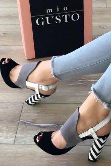 Серые туфли комбинированные