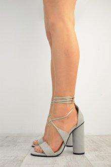 Серые туфли на круглом каблуке
