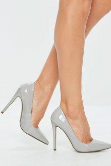 Серые туфли лаковые