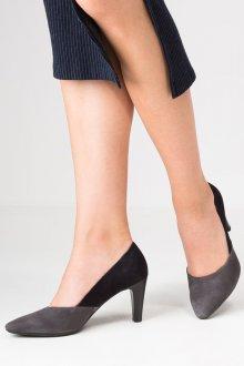 Серые туфли на низком каблуке