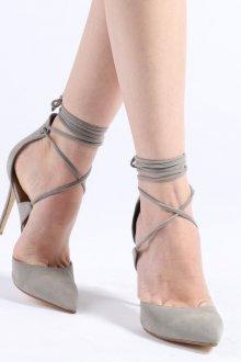 Серые туфли остроносые с завязочками