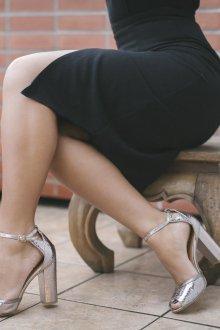 Серые туфли серебряные