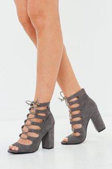 Серые туфли на устойчивом каблуке