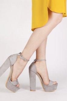 Серые туфли на высоком каблуке