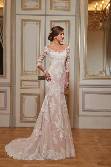 Свадебное платье айвори с рукавом три четверти