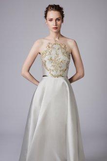 Свадебное платье айвори с золотой вышивкой