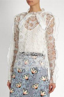 Блузка с цветами белая кружевная
