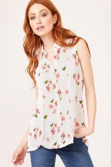 Блузка с цветами без рукавов