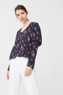 Блузка с цветами и рукавами фонариками шифоновая