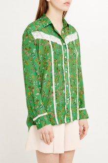 Блузка с цветами и вставкой из гипюра