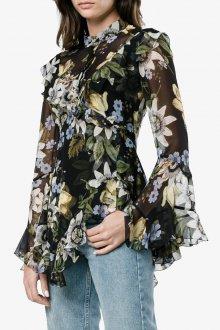 Блузка с цветами свободного кроя