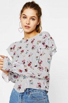 Блузка с цветами в полоску