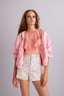 Блузка с цветами розовая шифоновая
