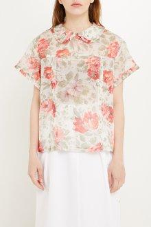 Блузка с цветами и воротником питер пен