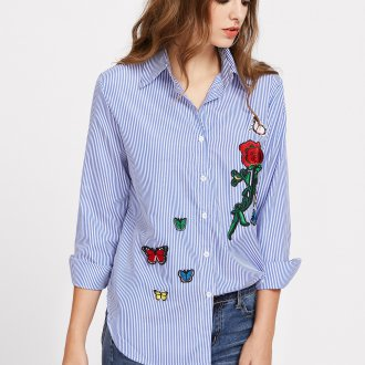 Блузка с цветами и вышивкой