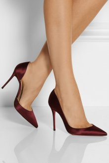 Бордовые туфли атласные
