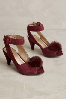 Бордовые туфли с мехом
