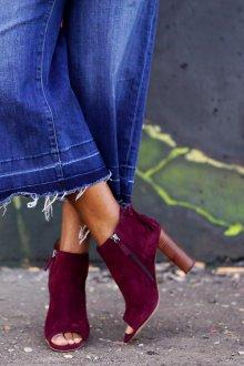 Бордовые туфли с открытым носком