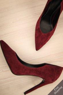 Бордовые туфли замшевые