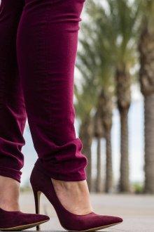 Бордовые туфли из замши