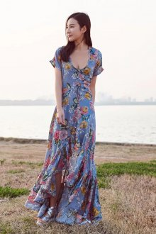 Повседневное платье бохо асимметричное