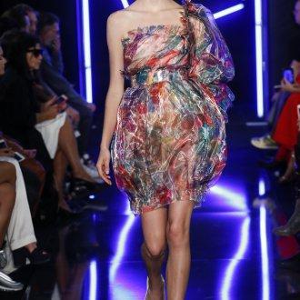 Повседневное платье с принтом прозрачное