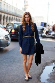 Повседневное платье рубашка с поясом