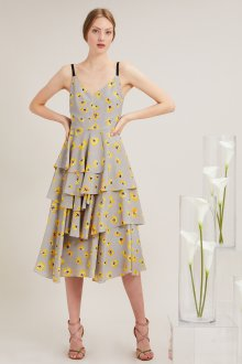 Повседневное платье серое с цветами