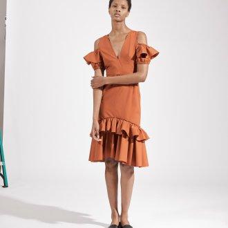 Повседневное платье с воланами терракотовое