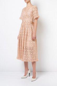 Бежевое платье ажурное миди