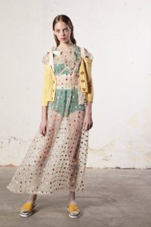 Бежевое платье в горошек разноцветный