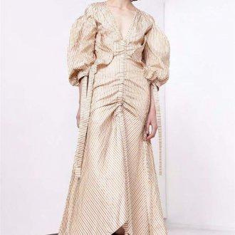Бежевое платье полосатое с рукавами фонариками