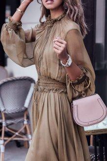 Бежевое платье шифоновое с рукавами