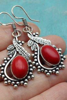 Красные серьги серебряные