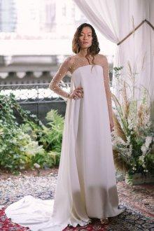 Свадебное платье для беременных гипюровое со шлейфом