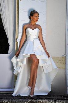 752e6daef6b0a18 Атласное Свадебное Платье с Кружевным Верхом и Шлейфом, Пышное с ...