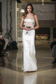 Атласное свадебное платье бюстье прямое