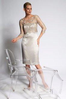 Атласное свадебное платье короткое серое