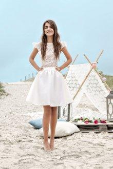 Атласное свадебное платье короткое