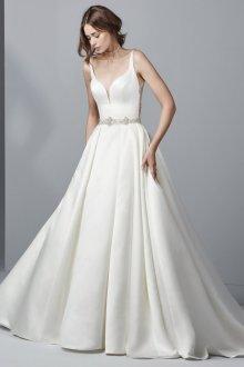 Атласное свадебное платье плотное